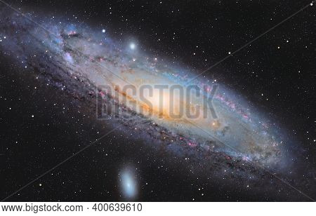 Astronomical Image Of The Andromeda Galaxy, Nearest Spiral Galaxy To The Milky Way
