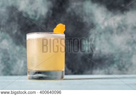 A Glass Of Whiskey Sour Cocktail Close Up