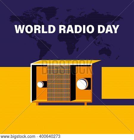 World Radio Day, 13 February. Radio Transistor Concept Illustration Vector. Retro Vintage Illustrati