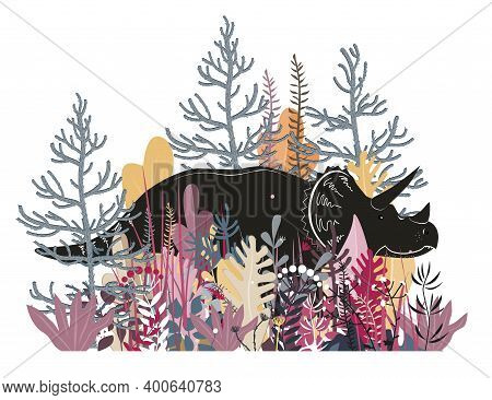 Cute Triceratops In The Jungle. Dinosaur In The Rainforest, Vector Illustration. Happy Dino Characte