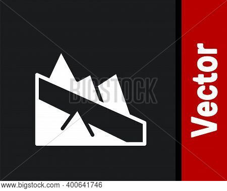 White Mountain Descent Icon Isolated On Black Background. Symbol Of Victory Or Success Concept. Vect