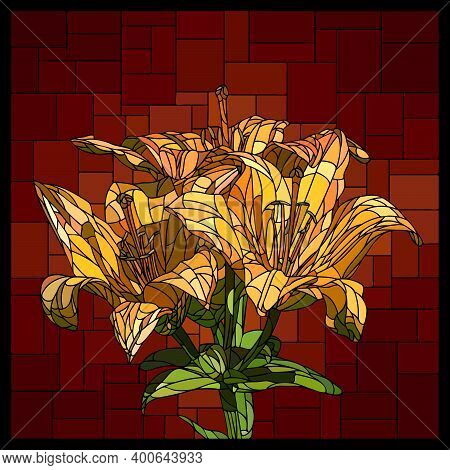 Vector Square Mosaic With Blooming Bouquet Of Yellow Lilies In Stained Glass Window.