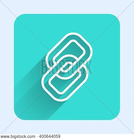 White Line Chain Link Icon Isolated With Long Shadow. Link Single. Hyperlink Chain Symbol. Green Squ