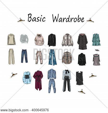 Set About A Basic Wardrobe. For Work, Leisure, Shopping, Travel, Holidays. Clothing, Model, Wardrobe