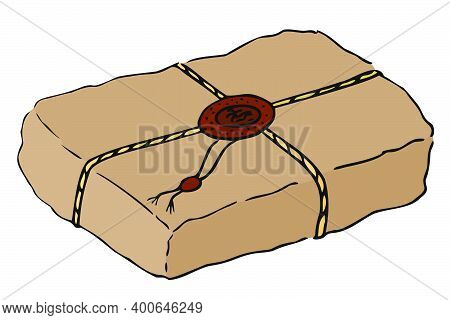 Kraft Paper Bag Or Gift Tied With Twine And Sealed With Sealing Wax. Colored Isolated Object With A
