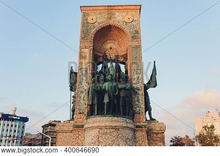 Istanbul, Turkey - December 9, 2020: The Republic Monument At Taksim Square At The Center Of City Of