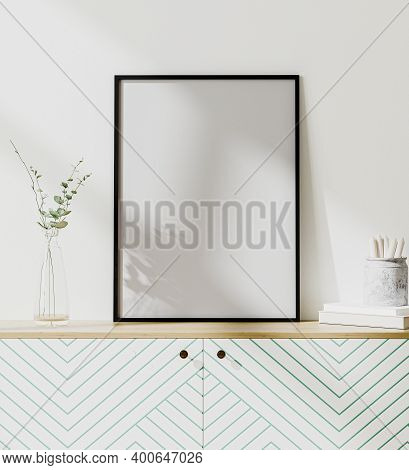 Mock Up Poster Frame In Modern Interior With White Wall, Scandinavian Style, 3D Rendering