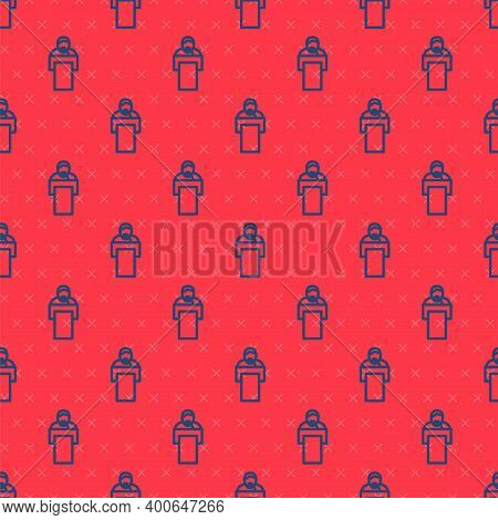 Blue Line Gives Lecture Icon Isolated Seamless Pattern On Red Background. Stand Near Podium. Speak I