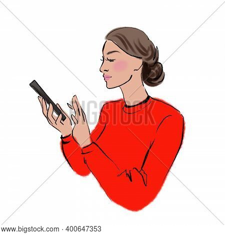 Drawing Of A Girl Staring Intently And Working On A Smartphone Illustration For Design