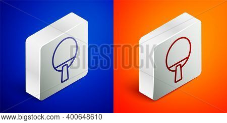 Isometric Line Racket For Playing Table Tennis Icon Isolated On Blue And Orange Background. Silver S