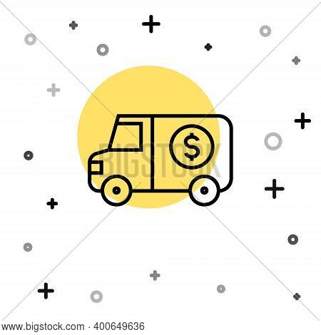 Black Line Armored Truck Icon Isolated On White Background. Random Dynamic Shapes. Vector