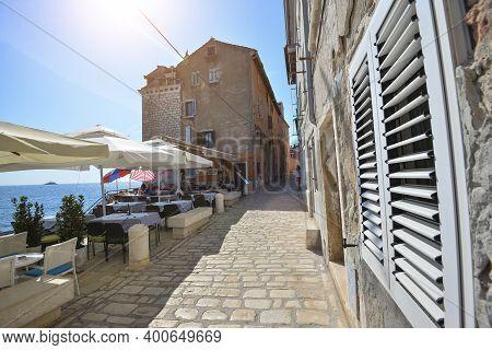 Rovinj, Croatia - May 22, 2018: Coastal Town Of Rovinj, Istria, Croatia Is Beautiful Antique City Ne