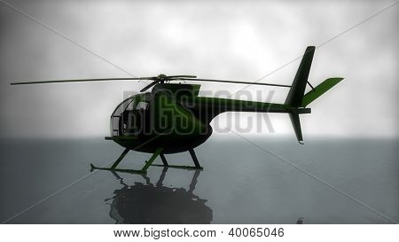helicopter isolated in fog