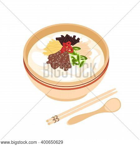 National Dish For Lunar New Year Or Seollal Tteok-guk Cut Out. Korean Traditional Soup Tteokguk On I