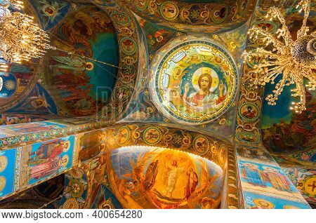 St Petersburg, Russia - April 5, 2019. Cathedral Of Our Savior On Spilled Blood - Interior View Of S