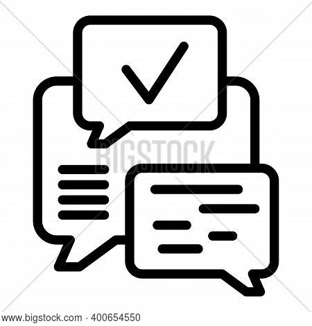 School Group Chat Icon. Outline School Group Chat Vector Icon For Web Design Isolated On White Backg