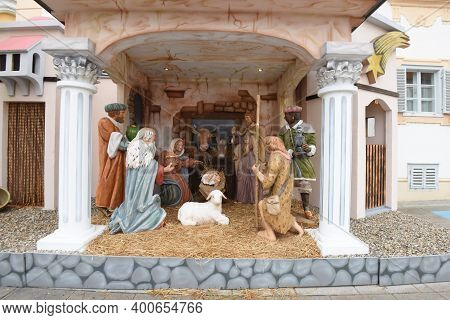Full Sized Christmas Crib Or Nativity Scene, Folk Culture During The Christmas Time