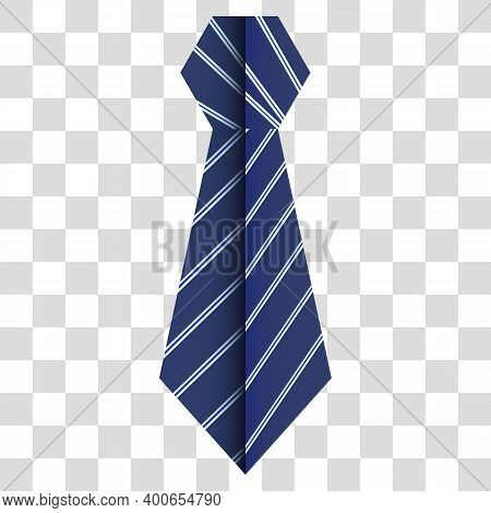Blue Striped Cravat With A Bend In The Center On A Transparent Background In Vector, It Looks Like O