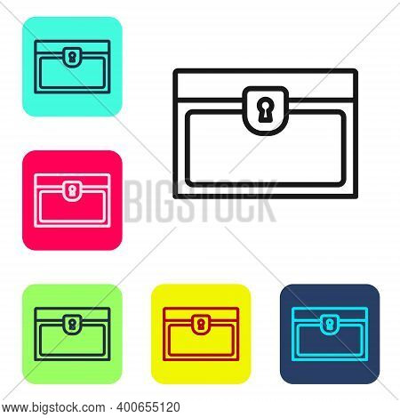 Black Line Antique Treasure Chest Icon Isolated On White Background. Vintage Wooden Chest With Golde