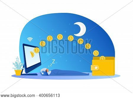 Man Sleeping With Earning While Sleeping Passive Income Concept .