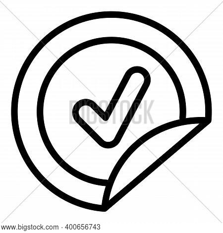 Approved Sticker Icon. Outline Approved Sticker Vector Icon For Web Design Isolated On White Backgro