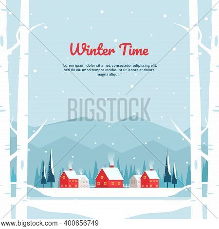 Vector Illustration Of Winter Landscape With Village In The Mountains And Red Houses, Perfect For Wi