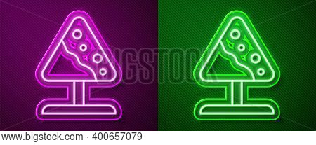 Glowing Neon Line Road Sign Avalanches Icon Isolated On Purple And Green Background. Snowslide Or Sn
