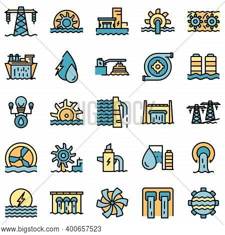 Hydro Power Icons Set. Outline Set Of Hydro Power Vector Icons Thin Line Color Flat On White