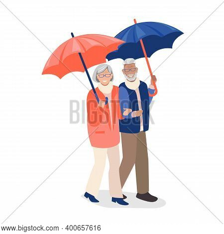 Elderly Couple Walks Under Umbrellas. Older People Lead An Active Lifestyle. Social Protection And A