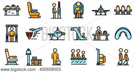 Airline Passengers Icons Set. Outline Set Of Airline Passengers Vector Icons Thin Line Color Flat On