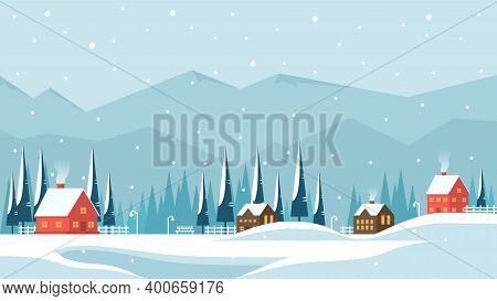 Winter Landscape With Village In The Mountains And Flat Vector Illustration Of Houses, Perfect For W