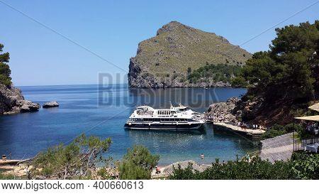 Sa Calobra, Mallorca - June 21, 2018: Boat With Tourists In Sa Calobra, Mallorca. Sa Calobra Is One