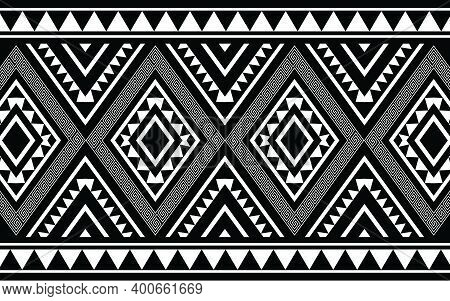 Ethnic Geometric Print Pattern Design  Aztec Repeating Background Texture In Black And White. Fabric