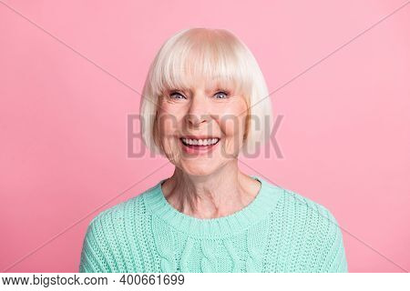 Photo Portrait Of Excited Aged Woman Wearing Teal Knitted Sweater Blonde Hair Staring Smiling Isolat