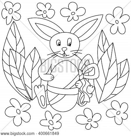 Easter Bunny Coloring Page, Cute Eared Bunny Holding Easter Egg With Bow, Coloring Book For Kids Vec