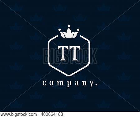 Letter Tt, T Luxury Royal Style Crown Monogram. Elegant, Hexagonal Shape With Beautiful Calligraphy.