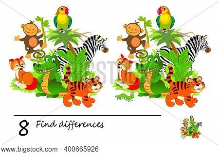 Find 8 Differences. Logic Puzzle Game For Children And Adults. Page For Kids Brain Teaser Book. Illu