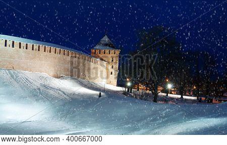 Winter Night View Of Veliky Novgorod, Russia. Vladimir Tower Of Veliky Novgorod Kremlin Fortress In
