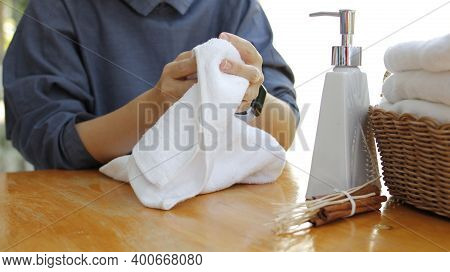 Soap Dispenser And Spa Towel ,roll Up Of White Towels On White Table With Copy Space,towels Studio S