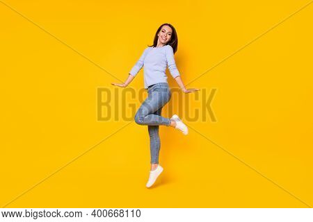 Full Length Body Size View Of Her She Nice Attractive Pretty Cheerful Cheery Girl Jumping Having Fun