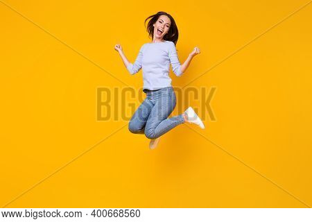 Full Length Body Size View Of Her She Attractive Pretty Lucky Cheerful Cheery Girl Jumping Rejoicing