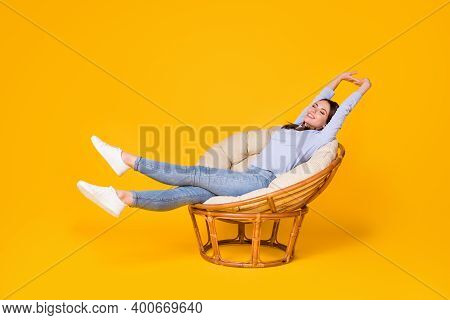 Profile Side View Of Her She Nice Attractive Lovely Dreamy Cheerful Cheery Girl Lying In Wicker Chai