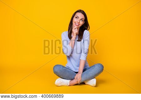 Portrait Of Her She Nice Attractive Brainy Smart Clever Cheerful Girl Sitting Lotus Position Thinkin