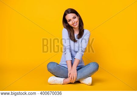 Portrait Of Her She Nice Attractive Pretty Cute Sweet Shy Modest Cheerful Cheery Girl Sitting Lotus