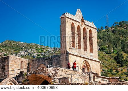 Bell Tower Of The Bellapais Abbey, Or The Abbey Of Peace. Kyrenia District, Cyprus