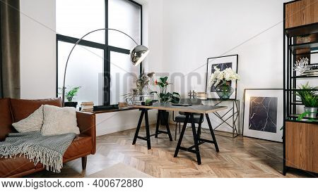 Panoramic View Of Home Office In Modern House With Contemporary Interior Design, Work Desk, Lampstan