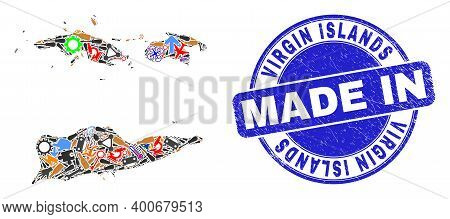 Component Mosaic American Virgin Islands Map And Made In Textured Rubber Stamp. American Virgin Isla