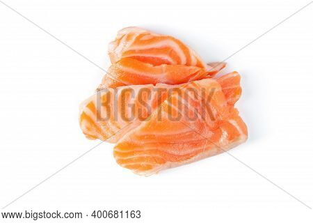 Fresh Salmon Filleted Pieces  Uncooked Isolated Salmon Clipping Path On White Isolated .image Stack