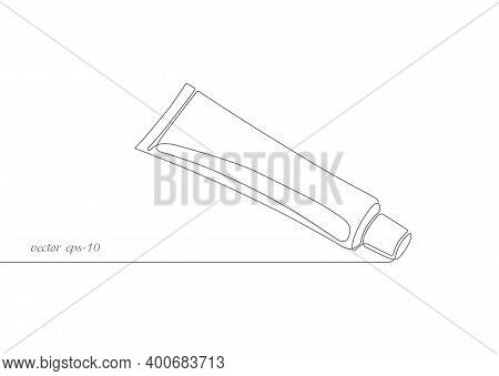 Toothpaste Tube .tube Of Cream.one Continuous Drawing Line Toothpaste .dental Care.dentistry Vector