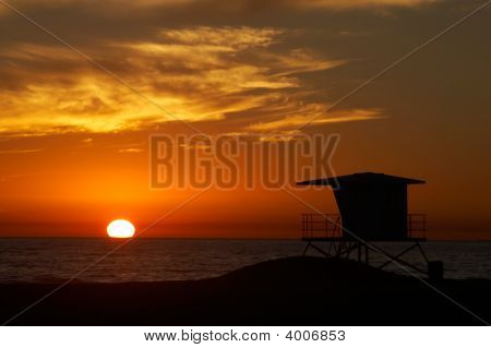 Lifeguard Tower At Sunset.